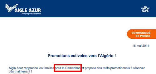 Ramadan en Algérie : Aigle Azur annonce ses prix
