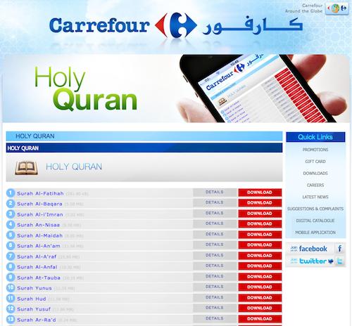 Téléchargez le Coran en mp3 sur le site de... Carrefour