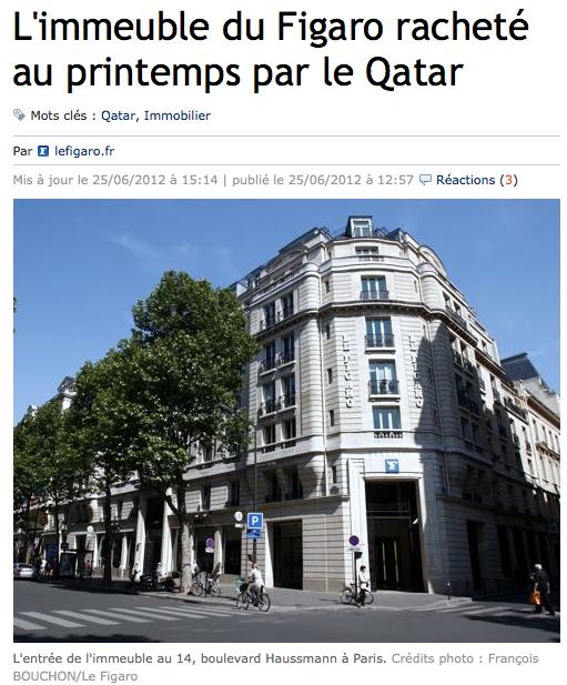 Le Qatar rachète l'immeuble du Figaro