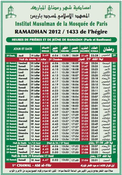 Calendrier de ramadan la mosqu e de paris change d 39 angle - Horaire de priere cavaillon ...