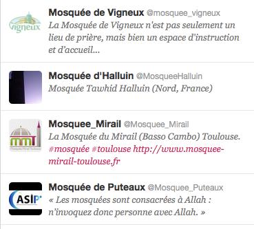 les mosquées sur Twitter