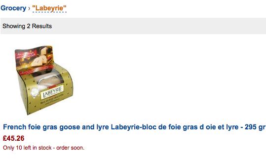 Foie gras en vente chez Amazon