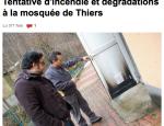 Mosquée de Thiers : début d'incendie