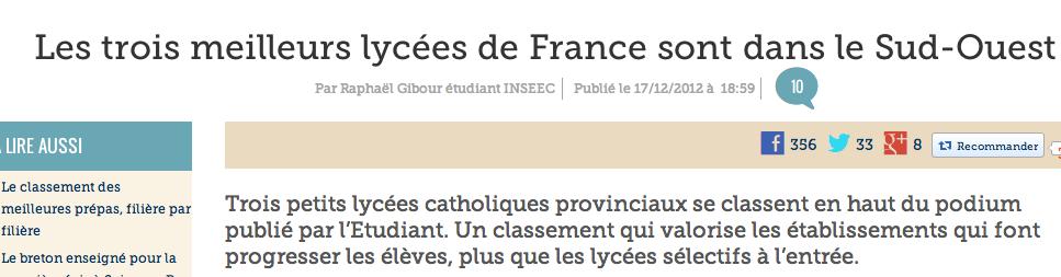 Le palmarès des lycées du Figaro, 100 % non halal