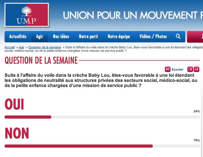 Sondage du voile sur le site UMP