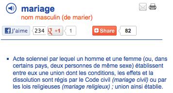 larousse definition mariage
