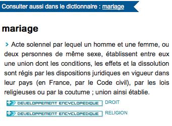 Larousse définition mariage Encyclopédie