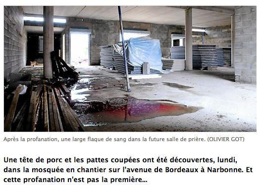 Mosquée de Narbonne : une tête de porc dans une flaque de sang