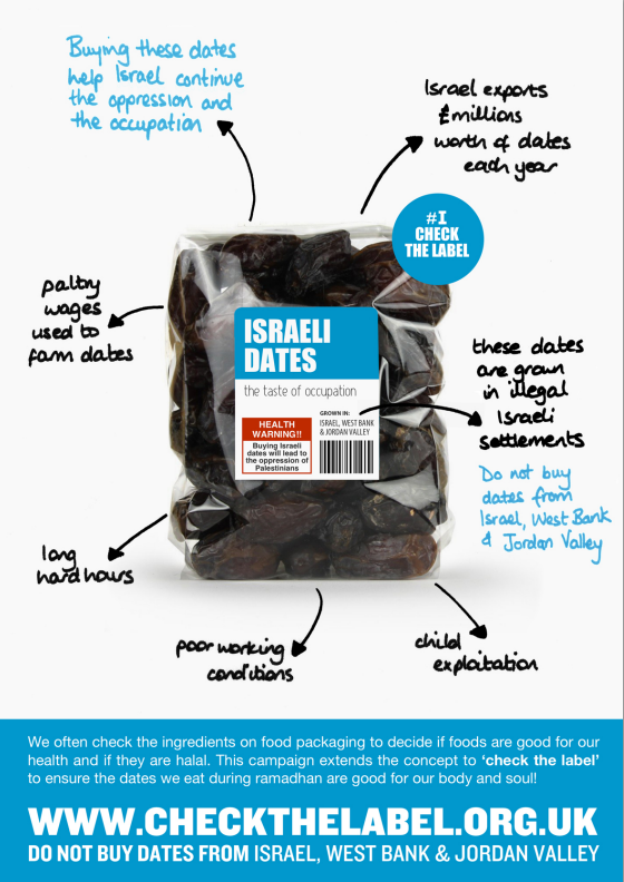 check label israel dates taste occupation