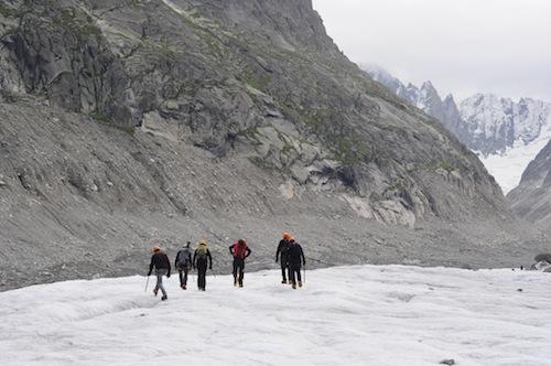 la team, dans le glacier