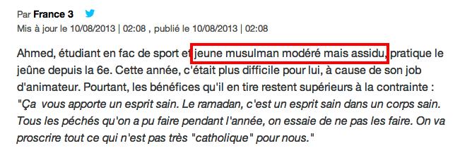 ramadan Ahmed  étudiant modéré
