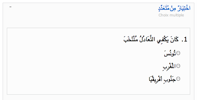 Aljazeera Arabe - choix multiple