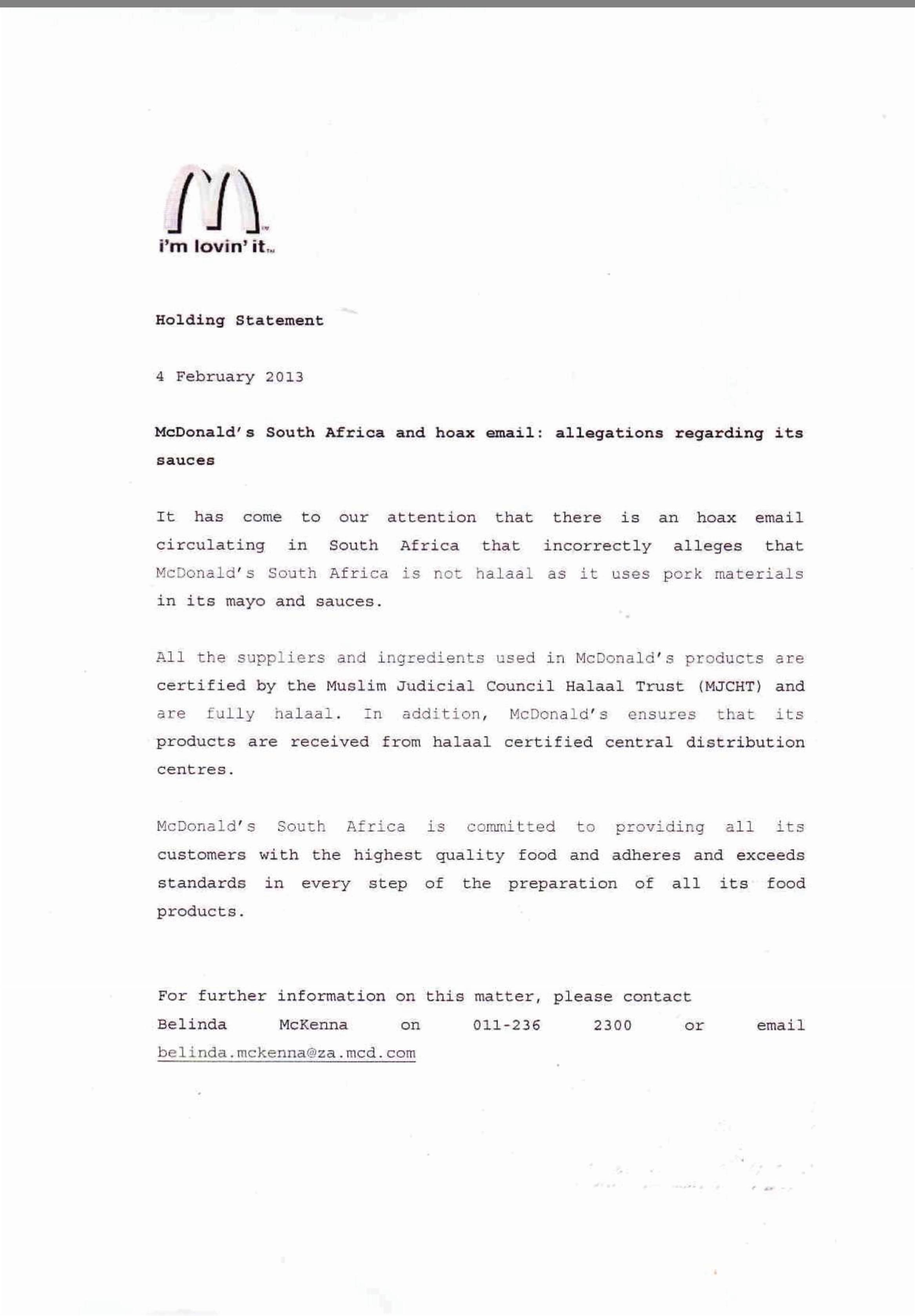 McDonald's - Muslim Judicial Council Halaal Trust (MJC-HT)