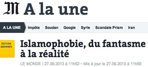 islamophobie - édito du Monde