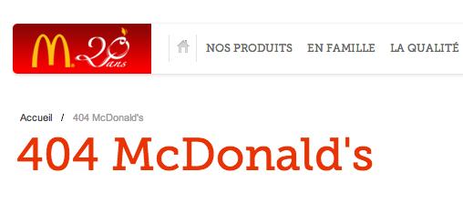404 erreur McDonald's Maroc