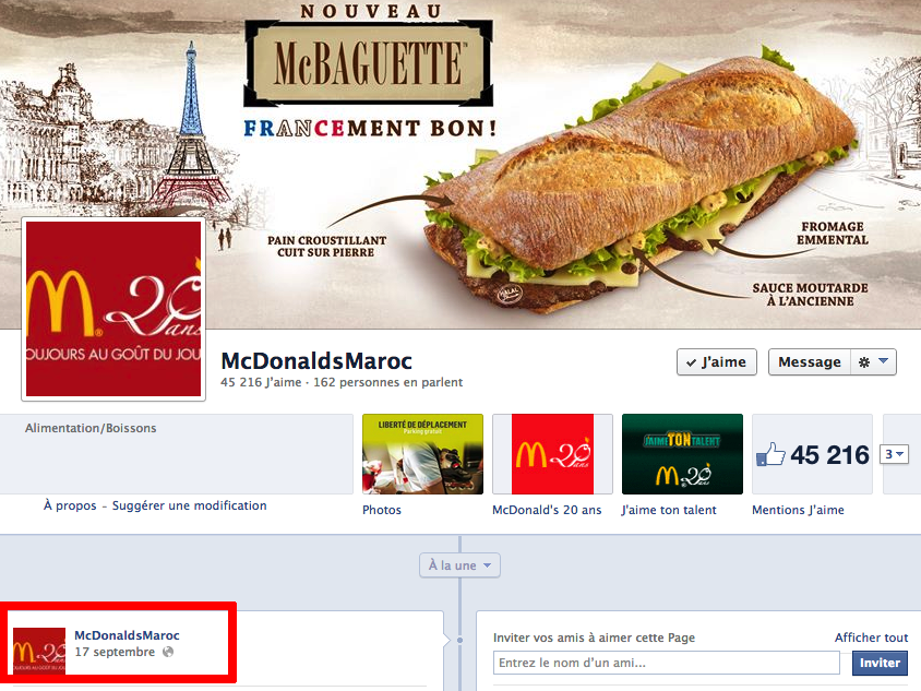 Facebook McDonalds Maroc