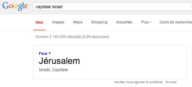Jerusalem Capitale israel Google