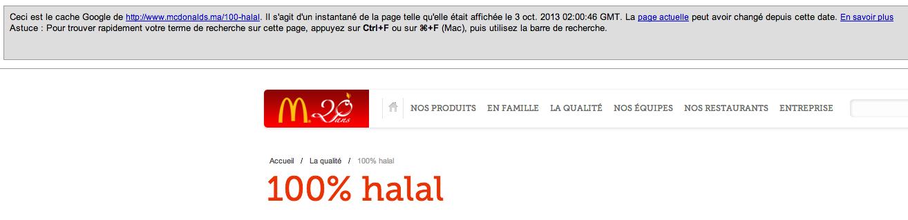 Mcdo Maroc 100 pour cent halal cache de Google
