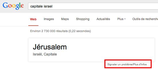 signalement Google jerusalem Israel