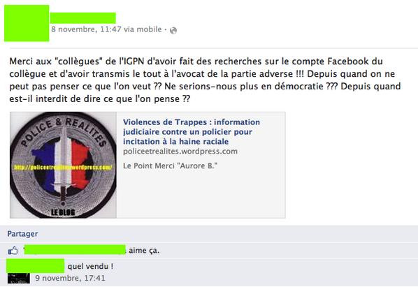policier facebook VN