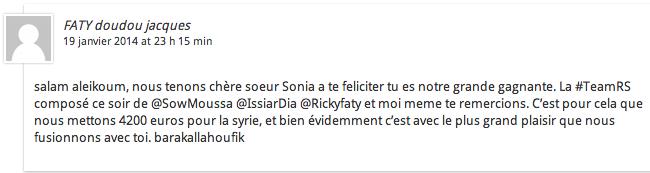 teamRS réponse à Sonia