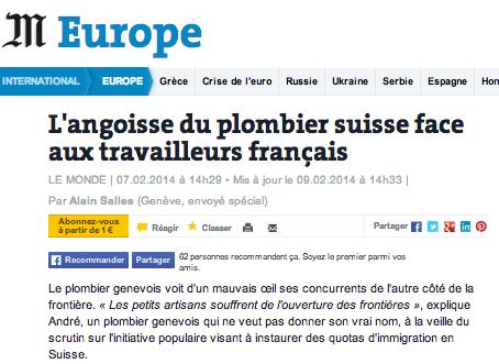 Le Monde travailleurs français Suisse