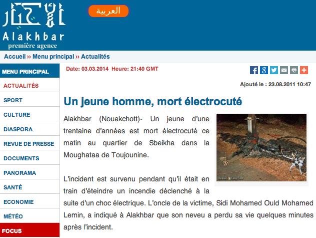 accident mauritanie