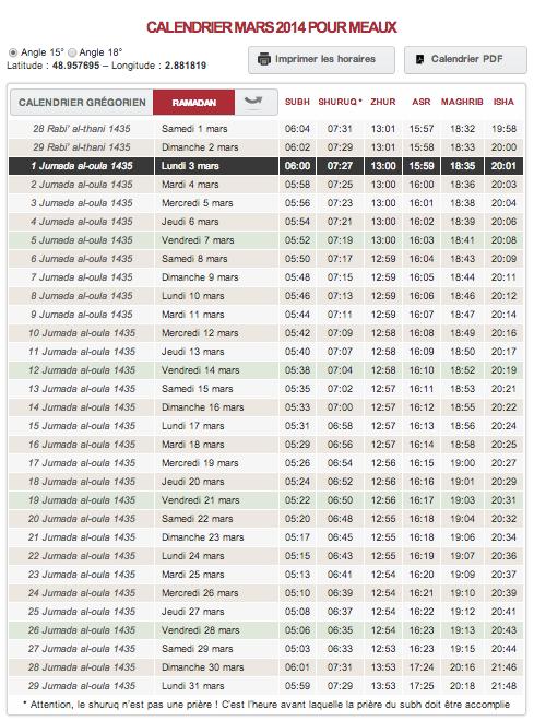 horaire priere meaux mars 2014