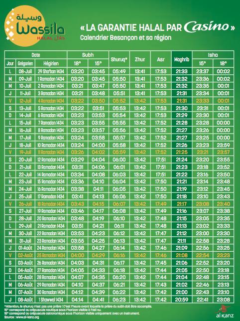 casino calendrier ramadan
