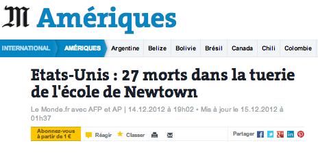 sandy hook Etats-Unis : 27 morts dans la tuerie de école de Newtown