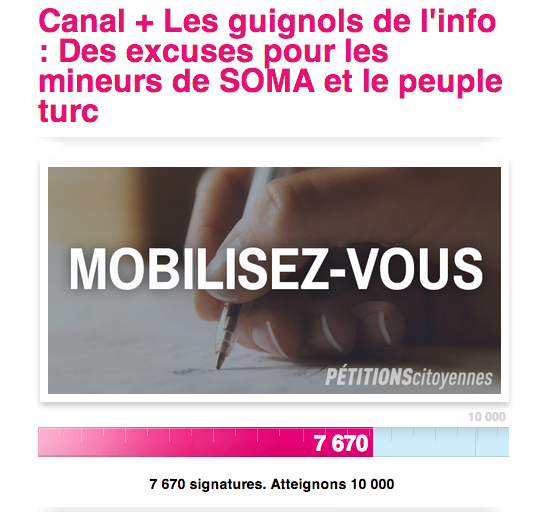 soma petition pour excuses de canal plus