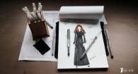 dessin robe col claudine atelier fringadine