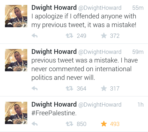 DwightHoward free Palestine