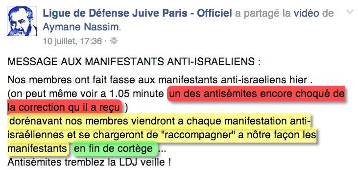 ligue de défense juive menace