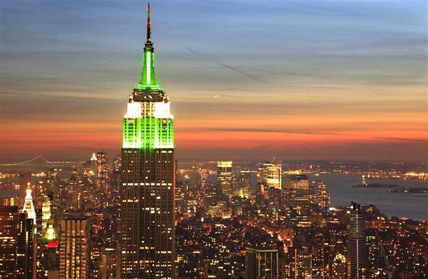 Fin de ramadan : l'Empire State Building vert de lumière