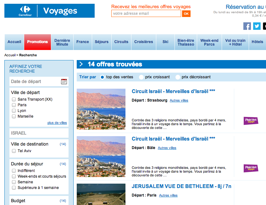 israel voyage carrefour