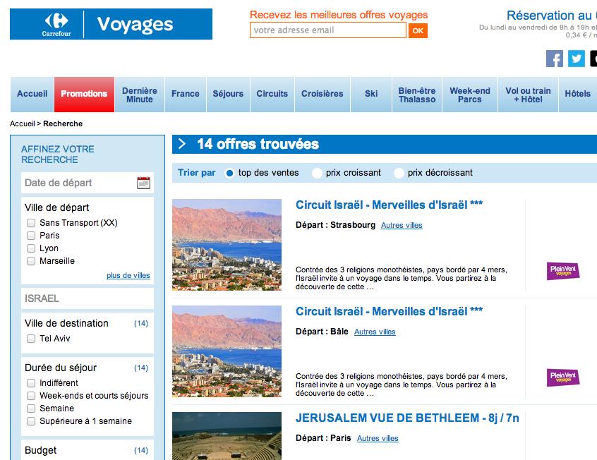 israel voyage carrefour