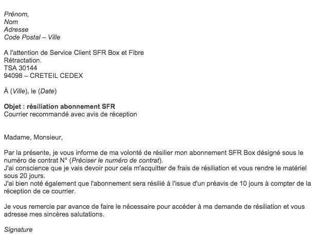 Modele Lettre Resiliation Sfr Neufbox Document Online