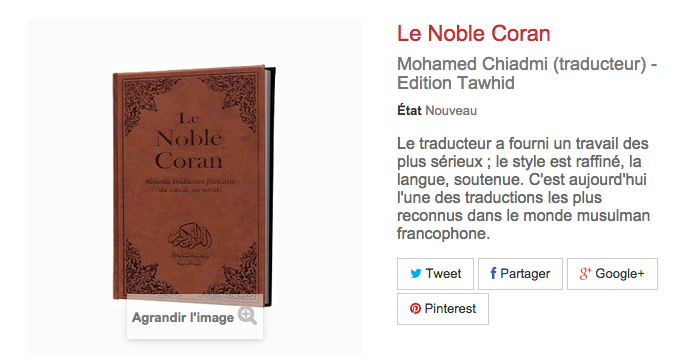 Coran editions Tawhid