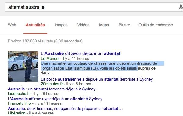attentat australie