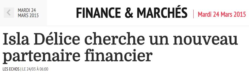 isla delice partenaire financier