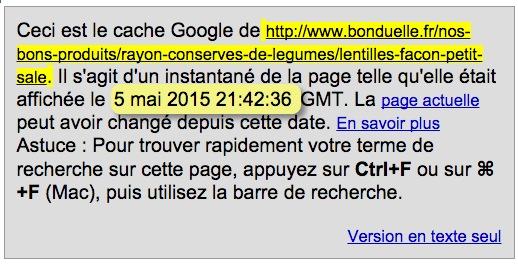 bonduelle cache google