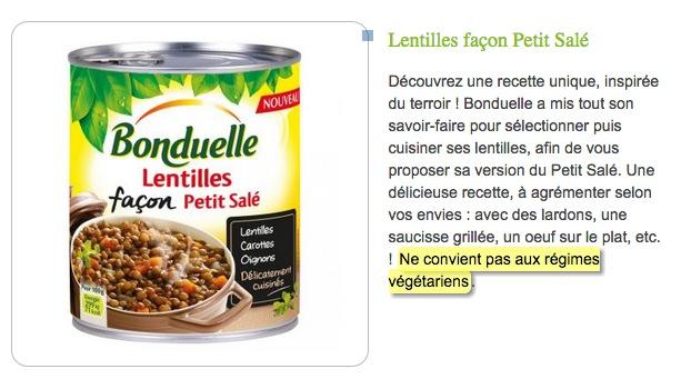 lentille bonduelle ne convient pas aux vegetariens