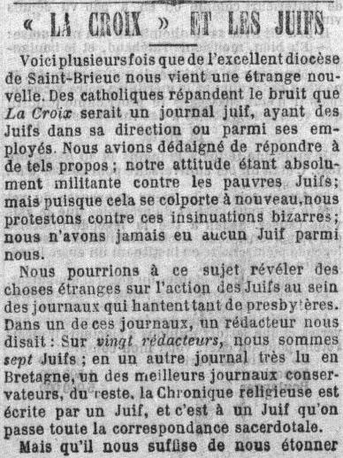 la croix antisemitisme 1890