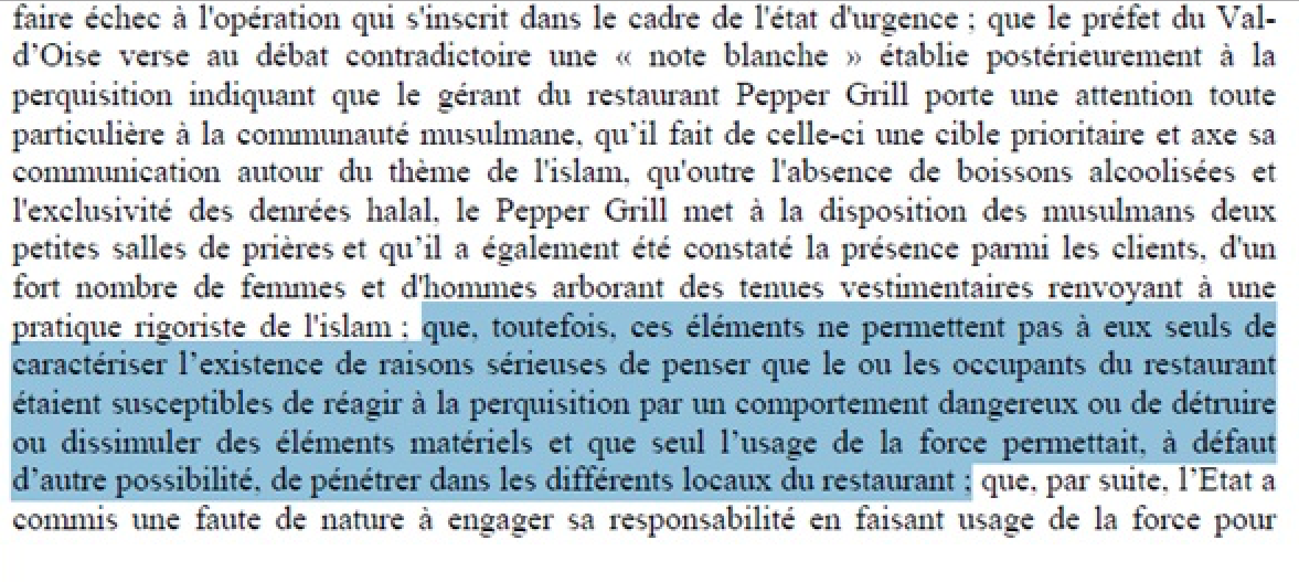 Pepper Grill condamnation Etat