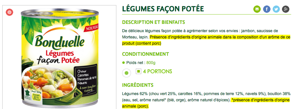 bonduelle arome origine animale legumes