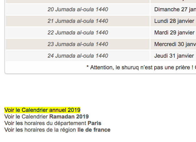 calendrier annuel horaire priere