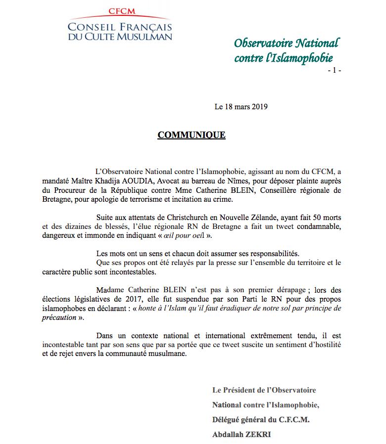 CFCM plainte contre Catherine Blein