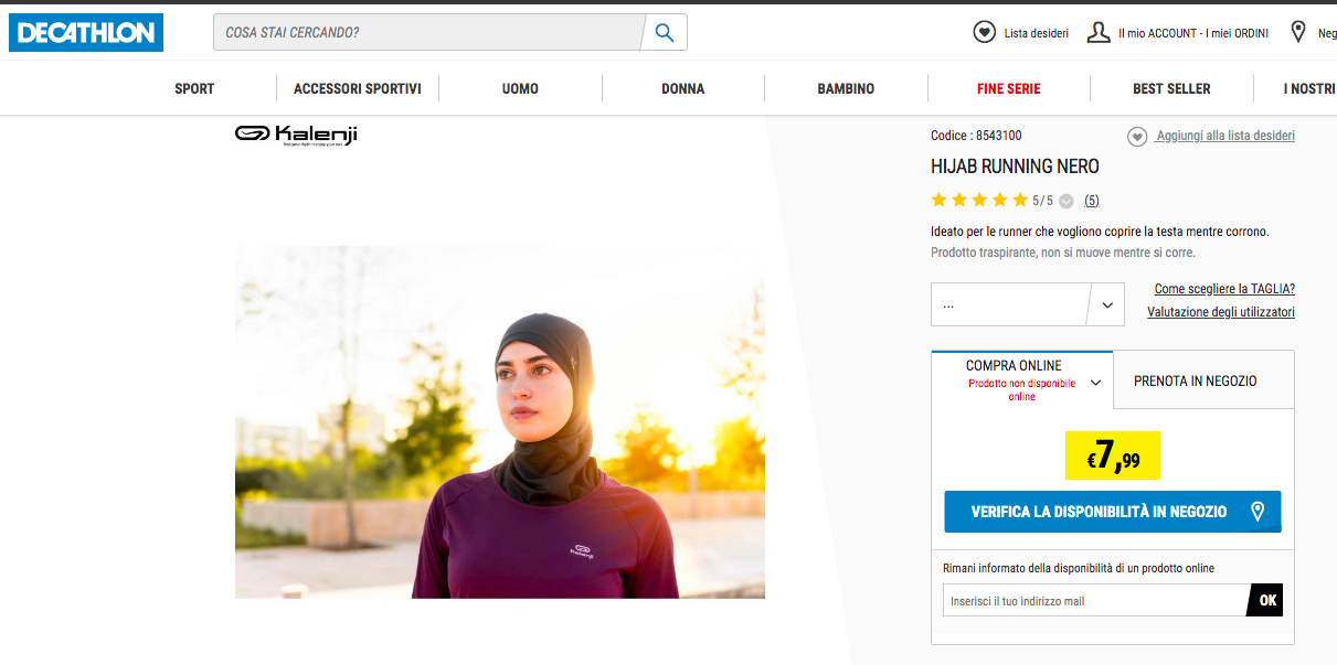 Hijab running Decathlon Italie