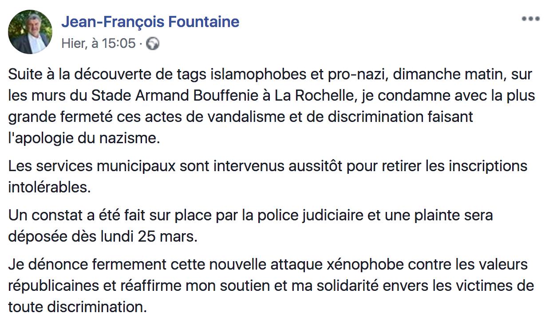 tags islamophobes nazis communiqué Jean-François Fountaine